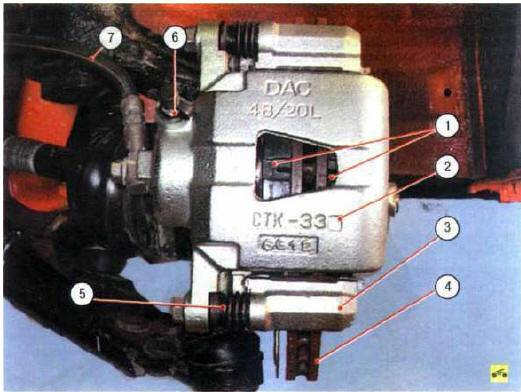 Рис. 9.1- Тормозной механизм переднего колеса: