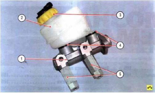 Рис. 9.2. Главный тормозной цилиндр с регуляторами давления в гидроприводах