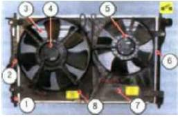 Рис. 5.16. Радиатор и электровентиляторы системы охлаждения: